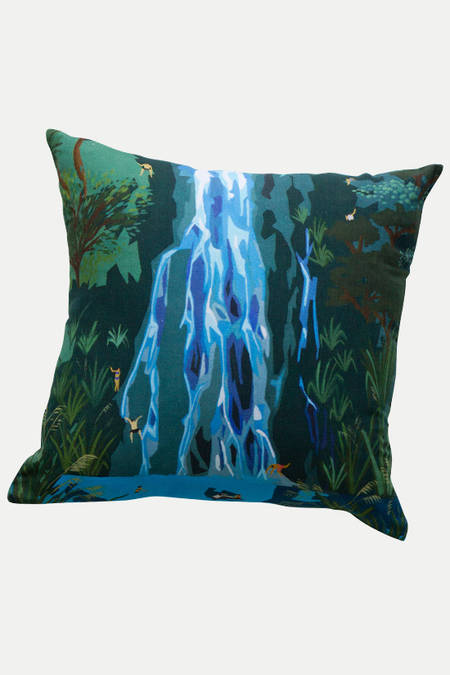 Karekare Waterfall  linen cushion
