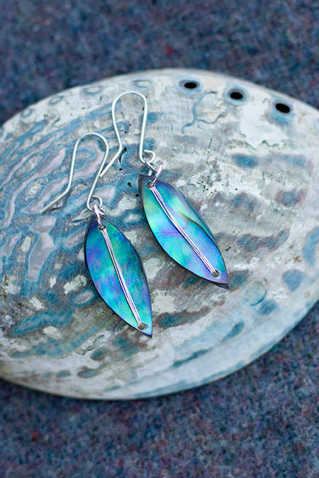 Pāua Leaf earrings