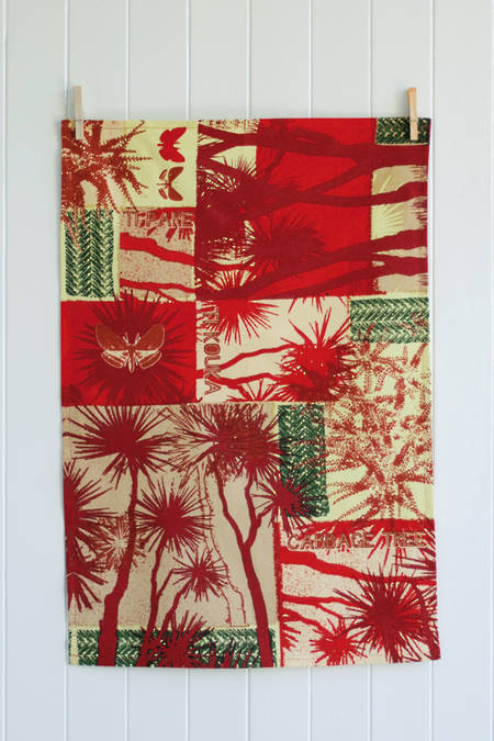 Ti Kouka Tea Towel - Berry