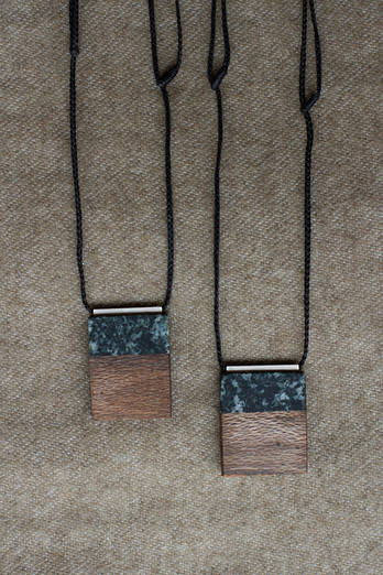 Amphibolite + Wood necklace