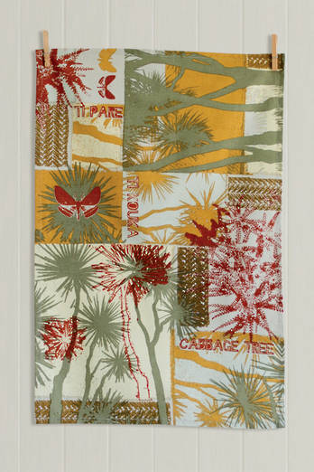 Cabbage Tree Tea Towel - Autumn