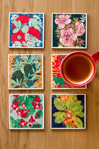 Native Flowers Coaster Set
