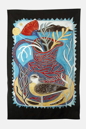 Tuturi whatu Dotterel Tea Towel