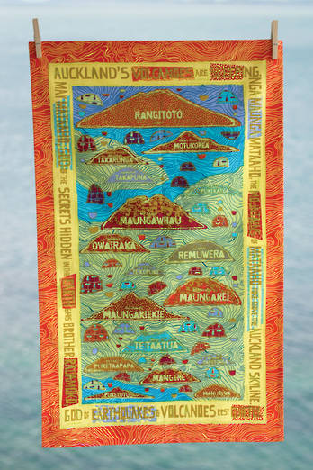 Auckland Volcanoes Tea Towel - Sunset