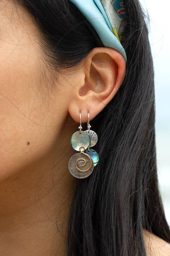 ​​​​​​​Sixpence with Paua Earrings