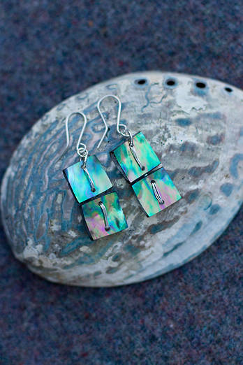 Pāua Square earrings