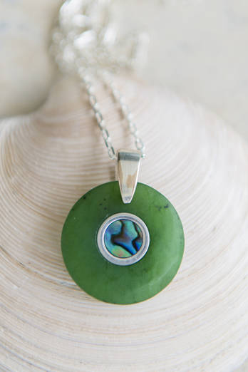 Pounamu and Paua Circle Necklace