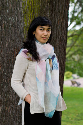 Waiheke Dawn linen cotton scarf