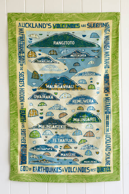 Aucklands Volcanoes Tea Towel - Waitemata