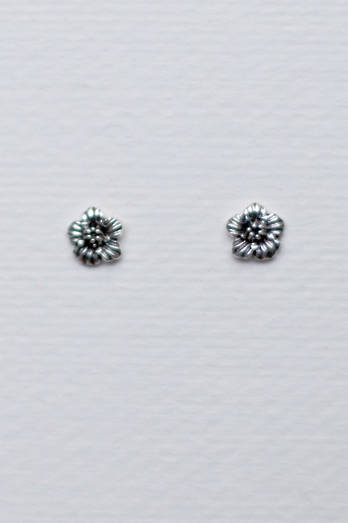 Silver Hibiscus flower studs