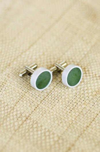 Pounamu greenstone cufflinks