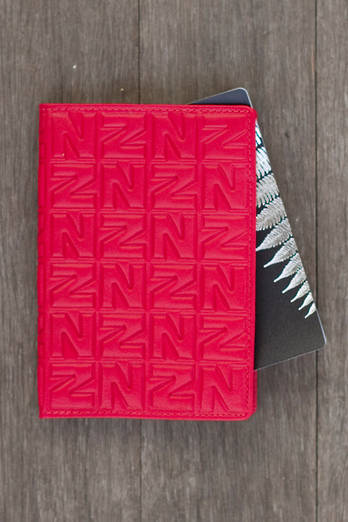 Red NZ leather passport holder