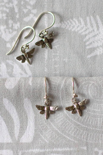 Silver Puriri moth earrings